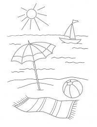Детские раскраски для девочек и мальчиков. зонтик на пляже