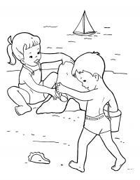 Детские раскраски для девочек и мальчиков. дети на пляже