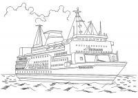 Детские раскраски для девочек и мальчиков. большой корабль