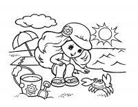 Детские раскраски для девочек и мальчиков. девочка играет с крабом
