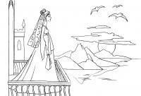 Раскраска закат. раскраска на балконе, королева смотрит на закат, закат солнца, море, балкон дворца, чайка, раскраска королева