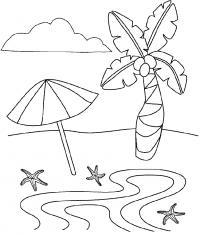 Раскраска море, зонтик и пальма