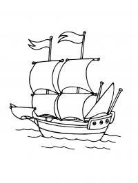 Раскраска парусный корабль в море