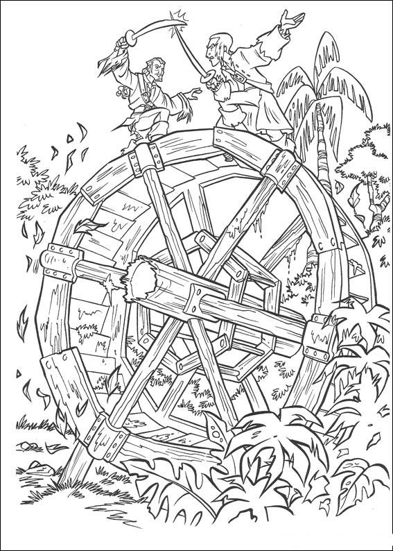 Распечатать раскраску пираты карибского моря, сражение на водной мельнице