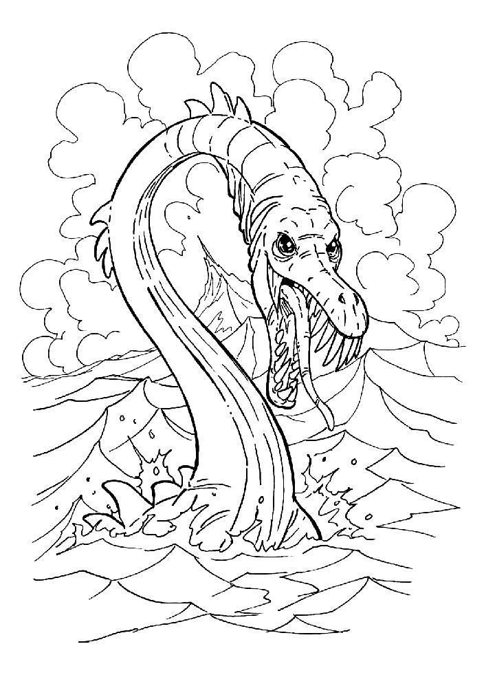Раскраски морской рептилии, змея, морской змей, море, вода