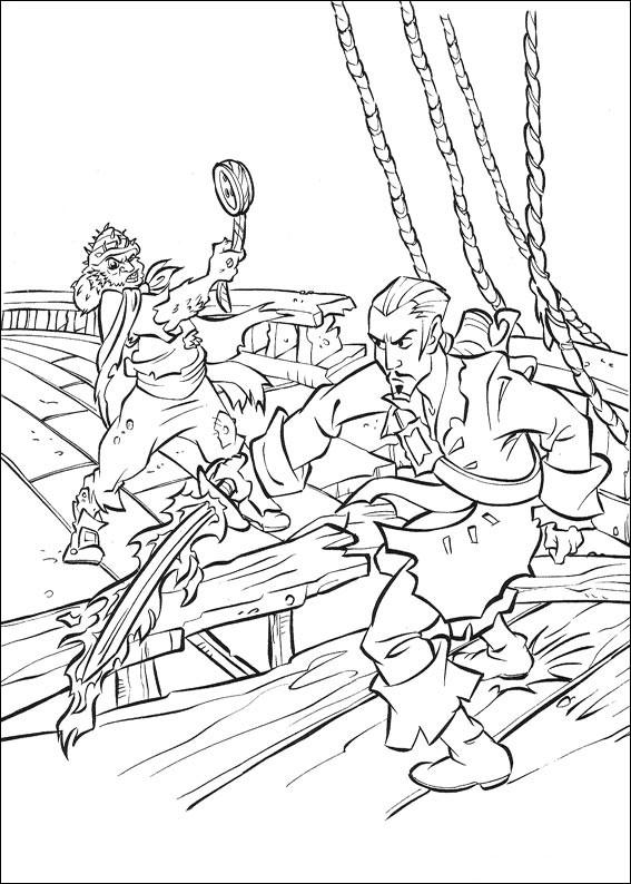 Распечатать раскраску пираты карибского моря, сражение на корабле