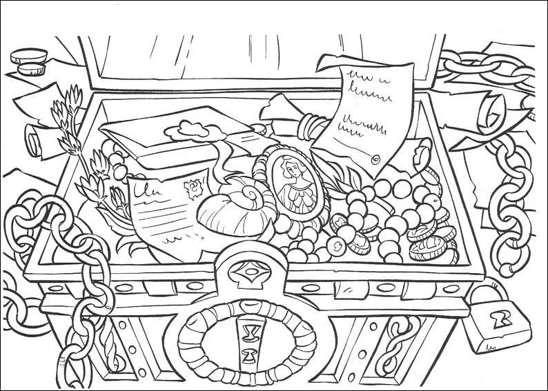 Распечатать раскраску пираты карибского моря, сундук