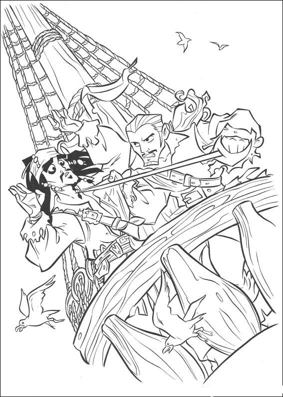 Распечатать раскраску пираты карибского моря, сражение