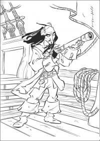Распечатать раскраску пираты карибского моря, на корабле