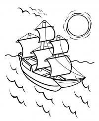 Раскраска море и корабль. закат солнца