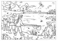 Раскраски природе детские раскраски, природа, отдых, отдых на природе, дети, озеро, насекомые