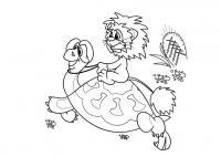 Раскраски морской маленький львенок едет верхом на панцире морской черепахи с очками на лице