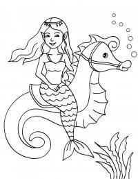 Раскраска русалка и морской конек