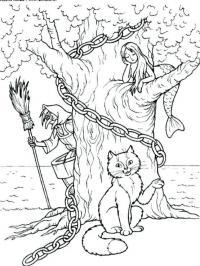 Раскраски русалка у лукоморья дуб зеленый златая цепь на дубе том кот по цепи ходит кругом русалка баба-яга прячется за дубом