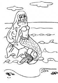 Раскраски русалка сидит русалка на камне а море волнами колышется