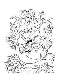 Раскраски русалка русалка на дне моря и рядом с ней плавают рыбки