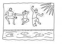 Раскраски вода лето, вода, бассейн, мальчики, жара