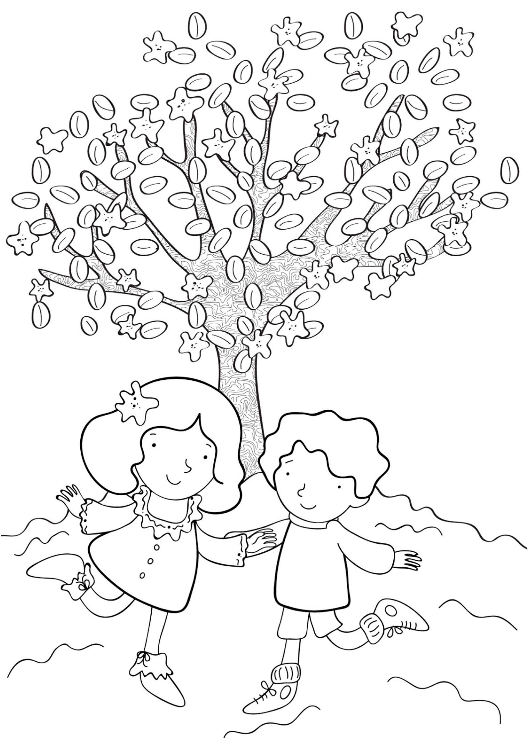 Раскраски дети праздник 1 июня день защиты детей дети дерево гулять игра лето