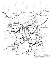 Раскраски дети праздник 1 июня день защиты детей дети игра лето под дождем лужи дождь
