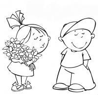 Дети цветы девочка мальчик игра