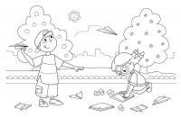Раскраски дети праздник 1 июня день защиты детей дети самолетики бумажные игра лето