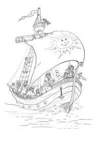 Раскраски плывет по морю плывет большой корабль и им управляет капитан, а на парусе у них изображено солнышко