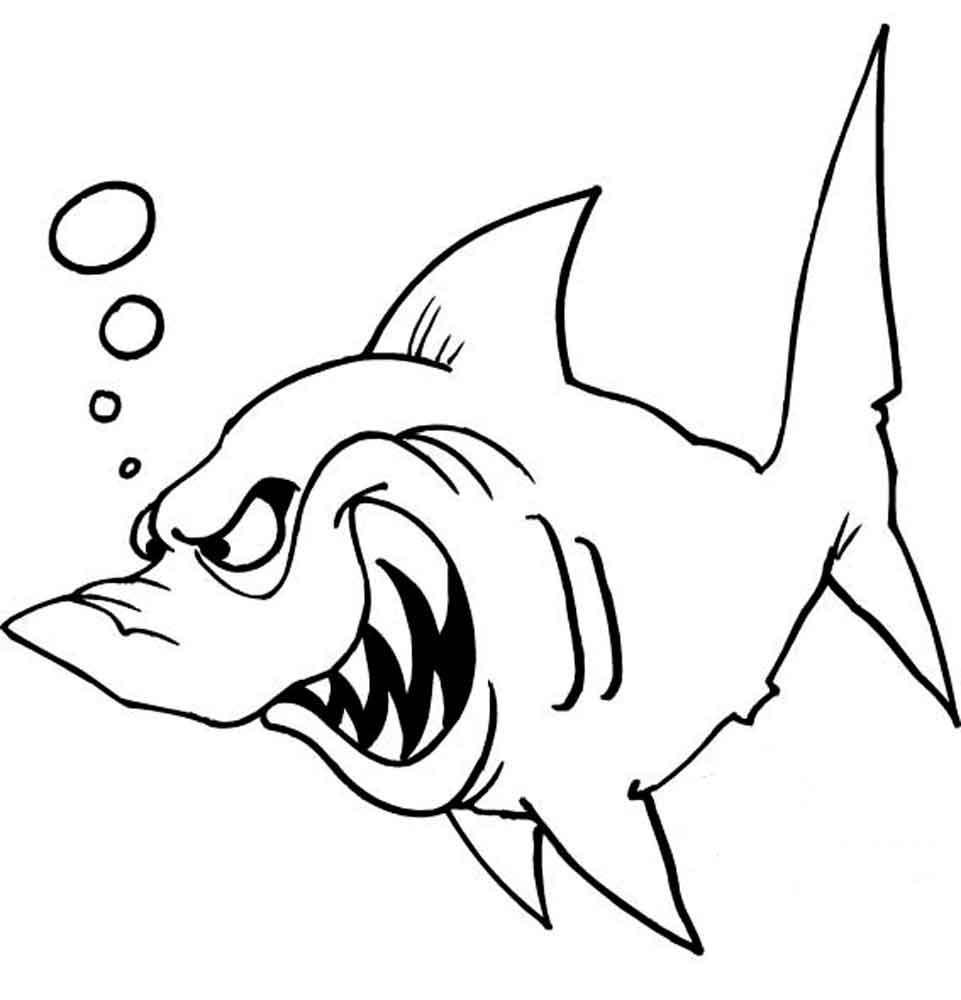 Акула с острыми клыкаи, скачать или распечатать раскраску распечатать скачать