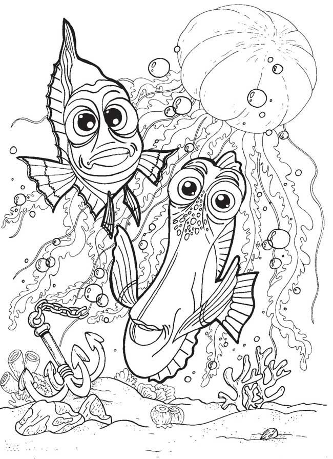 Раскраски рыба природа подводный мир рыба рыбки медуза