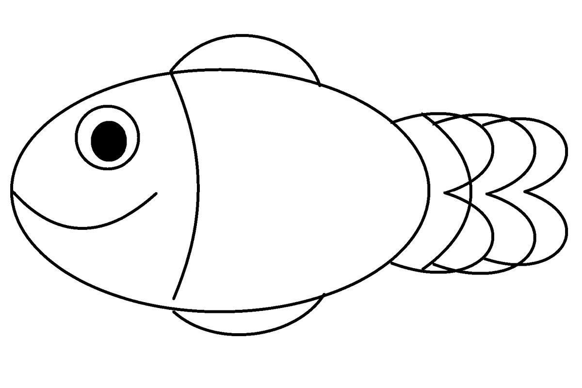 Раскраска простая рыбка