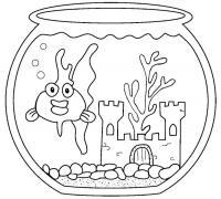 Рыбка в аквариуме, скачать или распечатать раскраску распечатать скачать