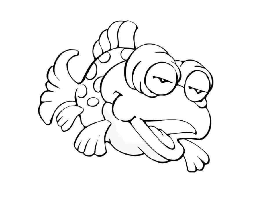 Детские раскраски для девочек и мальчиков. рыбка в пятнышко