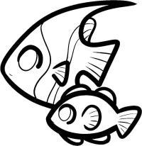 Раскраски рыбы две рыбы контур для вырезания из бумаги