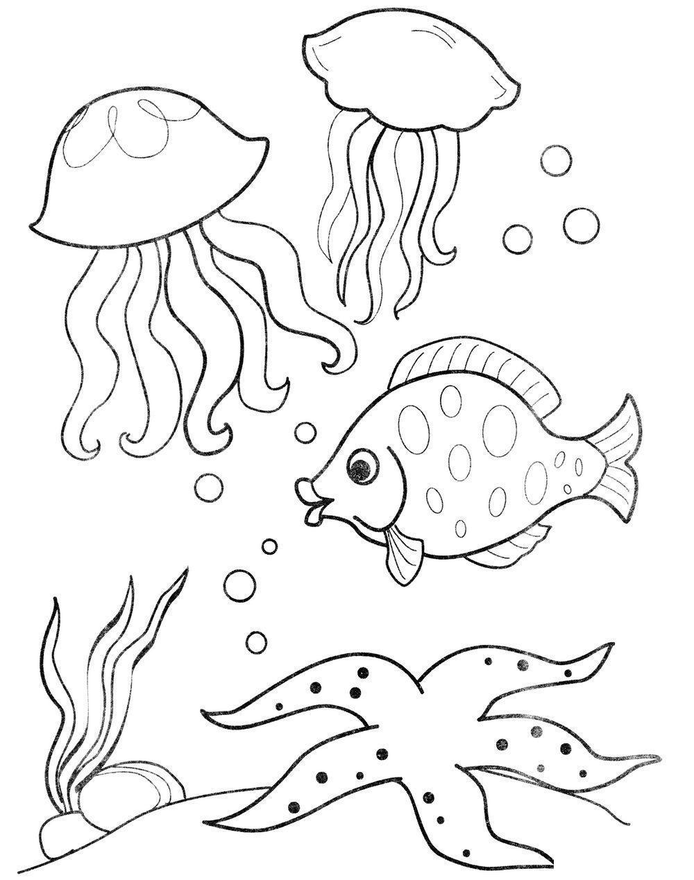 Раскраски подводный мир детская раскраска подводный мир,  рыбы,  медузы,  растения