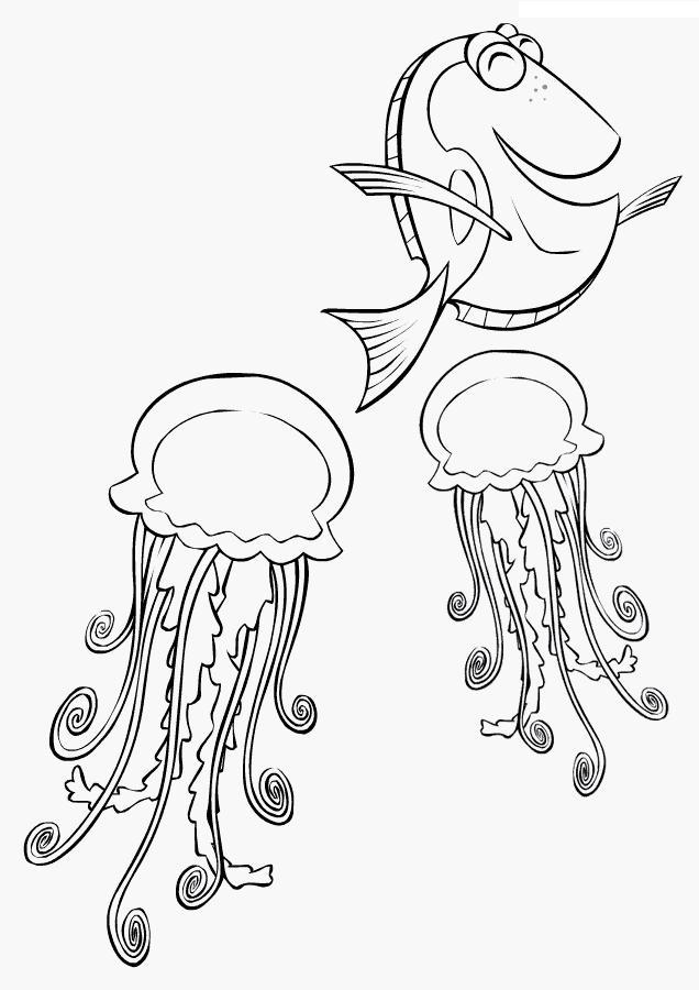 Рыбка и медузы, раскраски подводный мир природа подводный мир медузы рыбка