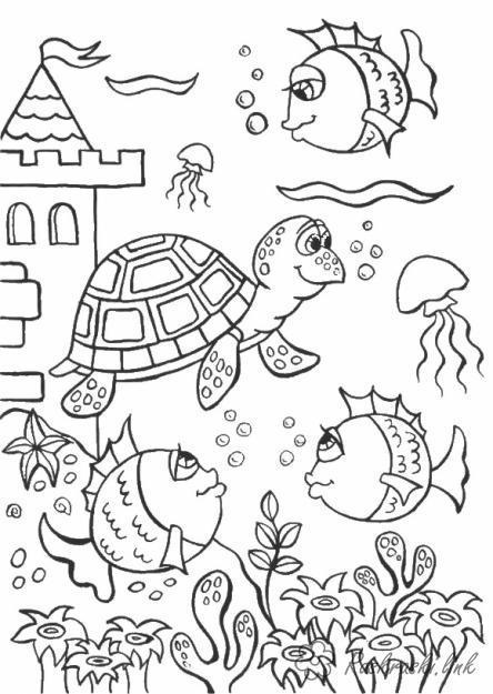 Раскраски подводный мир природа подводный мир рыбки черепаха медузы