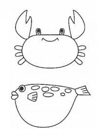 Краб и рыба