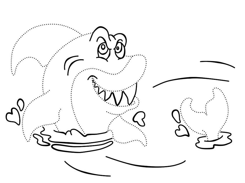 По точкам Раскраски подводный мир акула Раскраски распечатать