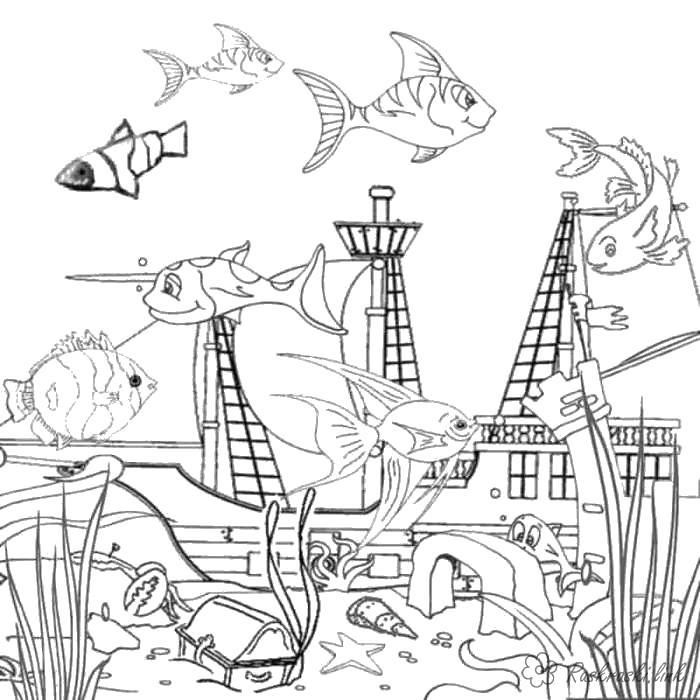 Раскраски подводный мир природа подводный мир корабль под водой рыбки