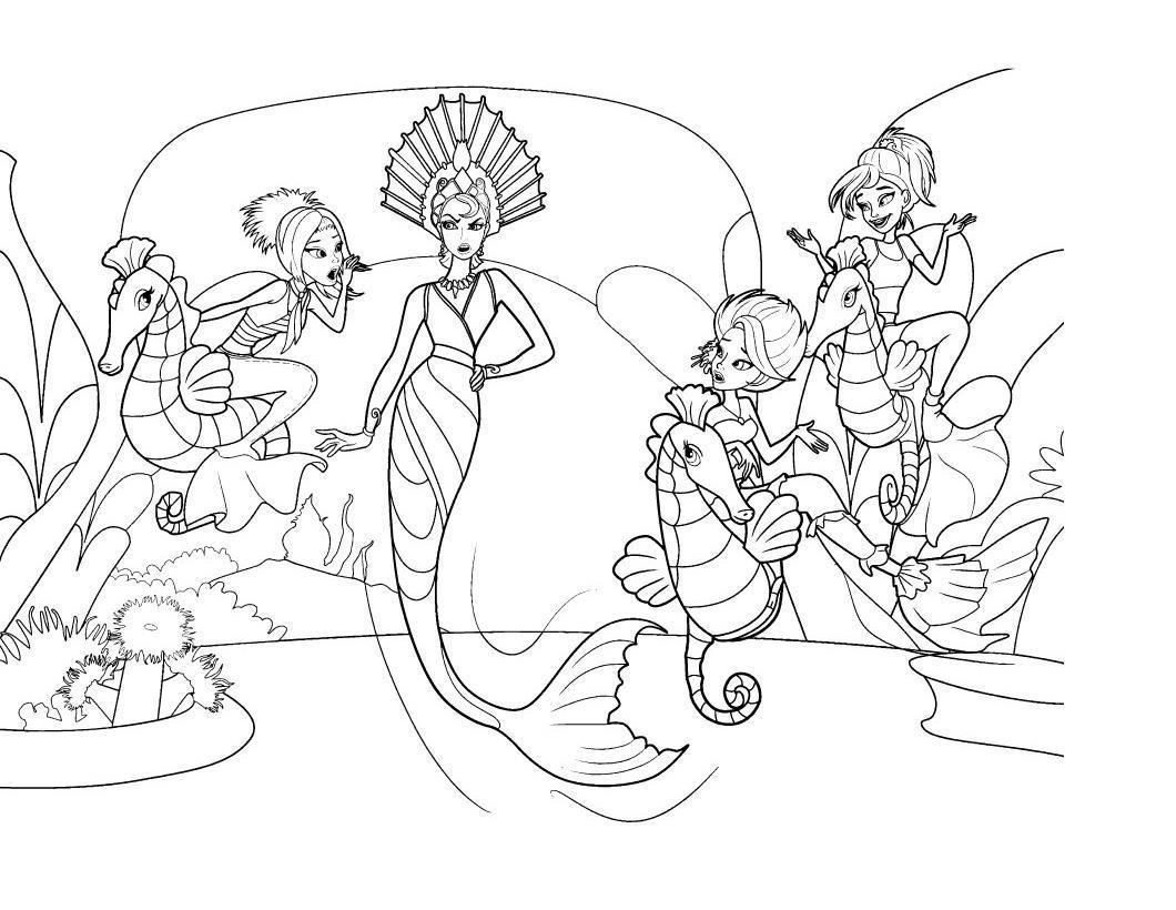 Раскраски детская детская раскраска подводный мир королева руцсалок и русалочки на морских коньках