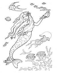 Раскраски русалка русалка плавает вместе с рыбками держа в руке ракушку
