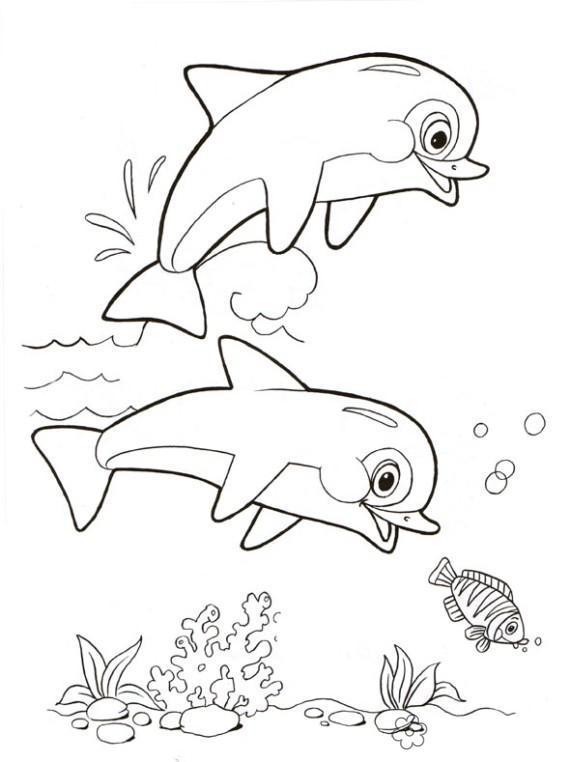 Рыбки Раскраски подводный мир природа подводный мир дельфины Раскраски распечатать