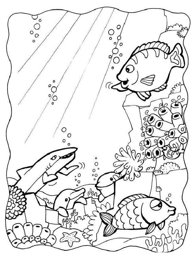 Рыбки Раскраски подводный мир природа рыбки дельфины подводный мир Раскраски распечатать