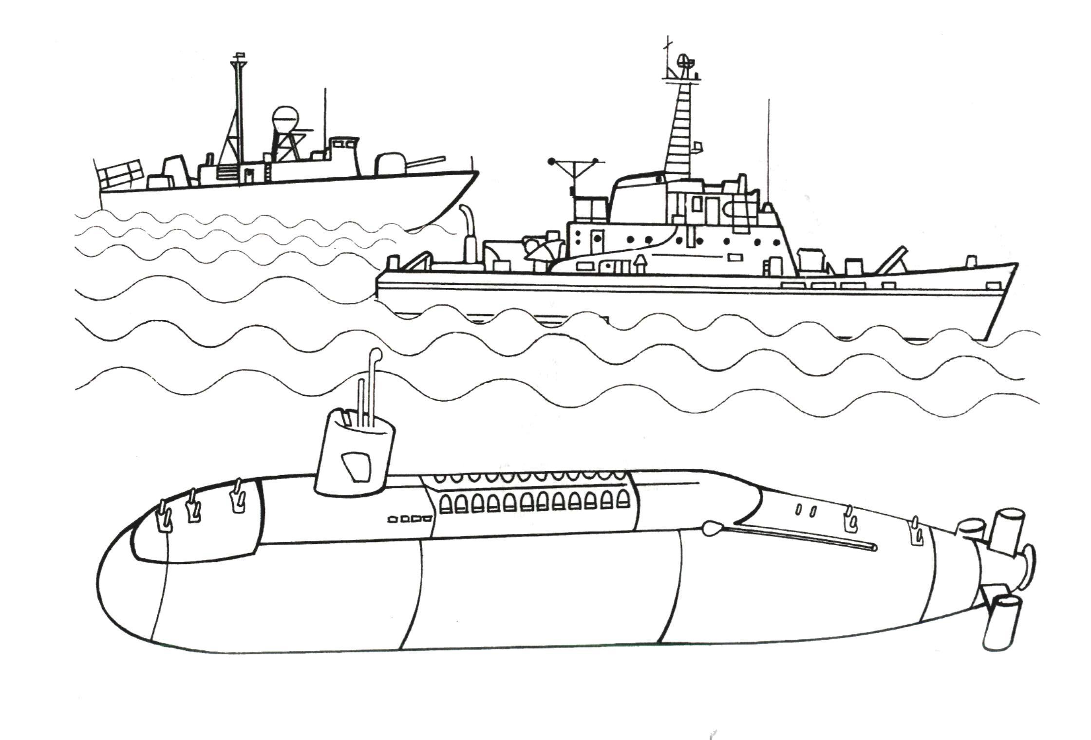 Корабль Раскраски корабли, подводные лодки Раскраски распечатать