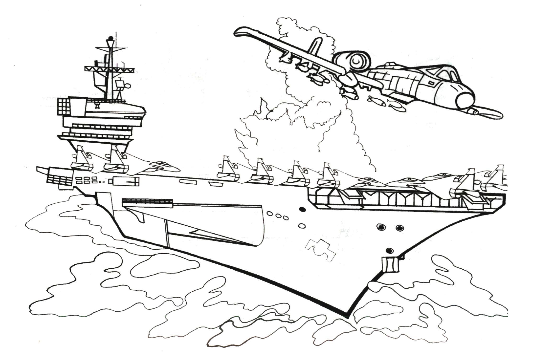 Раскраски корабли и самолеты
