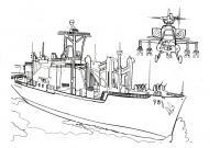 Раскраски корабли, подводные лодки, вертолет