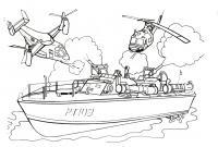 Раскраски корабли, подводные лодки, обстрел корабля вертолетавми