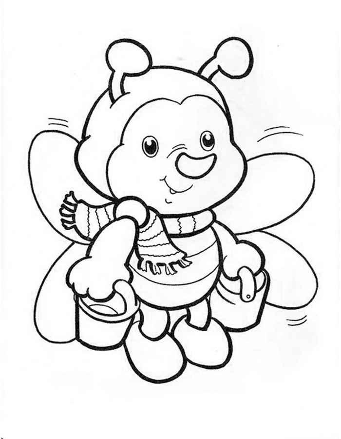 Детские раскраски для девочек и мальчиков. пчелка с ведерками