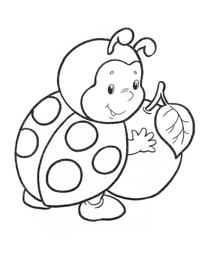 Детские раскраски для девочек и мальчиков. божья коровка