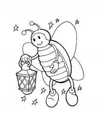 Детские раскраски для девочек и мальчиков. жучок с фонариком