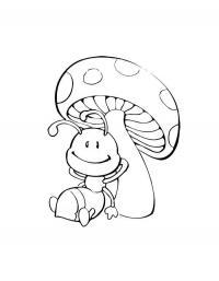 Детские раскраски для девочек и мальчиков. муравей под грибом